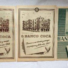Documentos bancarios: 3 HOJAS ANUNCIO PUBLICIDAD BANCO COCA (1955, 1956 Y 1957) ¡ORIGINALES! COLECCIONISTA. Lote 233526420