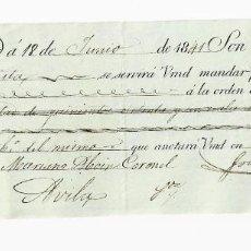 Documentos bancarios: LETRA DE CAMBIO. 1841. MADRID. 571 REALES DE VELLÓN, ORO O PLATA. VER. Lote 235620955