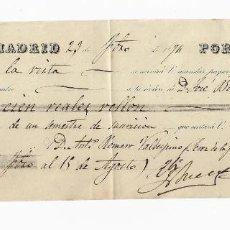 Documentos bancarios: LETRA DE CAMBIO. 1874. MADRID. 100 REALES DE VELLÓN. VER. Lote 235621170