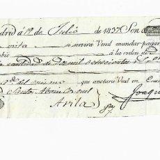 Documentos bancarios: LETRA DE CAMBIO. 1837. MADRID. 2800 REALES DE VELLÓN, ORO O PLATA. VER. Lote 235621385