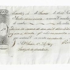 Documentos bancarios: LETRA DE CAMBIO. 1842. CADIZ. 1200 REALES DE VELLÓN, ORO O PLATA. VER. Lote 235621440