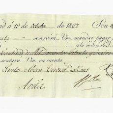 Documentos bancarios: LETRA DE CAMBIO. 1827. MADRID. 1274 REALES DE VELLÓN, ORO Y PLATA. VER. Lote 235627700