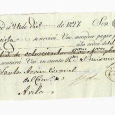 Documentos bancarios: LETRA DE CAMBIO. 1827. MADRID. 300 REALES DE VELLÓN, ORO O PLATA. VER. Lote 235628825