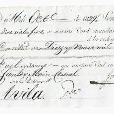Documentos bancarios: LETRA DE CAMBIO. 1829. MADRID. 19300 REALES DE VELLÓN, ORO O PLATA. VER. Lote 235629095