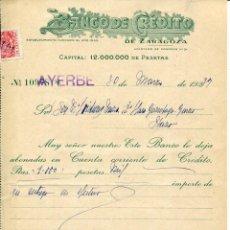 Documentos bancarios: ZARAGOZA-AYERBE-BANCO DE CRÉDITO DE ZARAGOZA- AÑO 1937. Lote 235669920