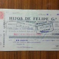 Documentos bancarios: LETRA DE CAMBIO PRIVADA HIJOS DE FELIPE G QUIROS 1935. Lote 236660420