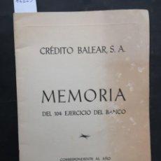 Documents bancaires: MEMORIA CORRESPONDIENTE AL AÑO 1963, BANCO CREDITO BALEAR. Lote 242980230