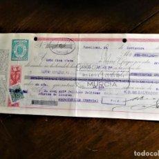 Documentos bancarios: LETRA DE CAMBIO 24-11-1944 DE D. SALVADOR BUENDÍA DE TOMELLOSO (CIUDAD REAL) PARA ABONO EN CUENTA A. Lote 243068105