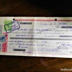 Documentos bancarios: LETRA DE CAMBIO 16-12-1944 DE DESTILERÍAS LEVANTE (ALICANTE) PARA ABONO EN CUENTA DE D. JUAN ANTONIO. Lote 243072270