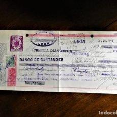 Documentos bancarios: LETRA DE CAMBIO 30-12-1944 DE DEFENSA INDUSTRIA AGRICOLA DE LEÓN PARA ABONO EN CUENTA DE D. JUAN AN. Lote 243075240