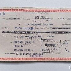 Documentos bancarios: LETRA DE CAMBIO GUERIN 1969 MURCIA CARAVACA BARCELONA ENERGIZER CEGASA JUPITER LINX SKLAR TXIMIST. Lote 243085780
