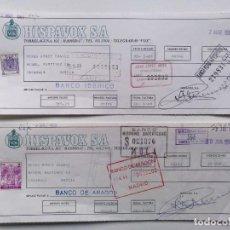 """Documentos bancarios: 2 LETRAS DE CAMBIO HISPAVOX 1969 MADRID MURCIA CARAVACA VINYL 7"""" LP EP MAXI SINGLE MUSICA VINILO. Lote 243085795"""
