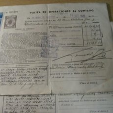 Documents bancaires: 2 POLIZA OPERACIONES AL CONTADO OBLIGACIONES AGUAS DE BARCELONA . CATALANA GAS. VIÑETAS 1942. Lote 243331285