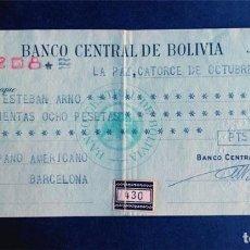 Documenti bancari: GUERRA CIVIL / AÑO 1936 / CHEQUE PAGARÉ BANCO CENTRAL DE BOLIVIA. Lote 243401765
