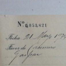 Documentos bancarios: MATRIZ DE TALONARIO BANCARIO AÑO 1934. Lote 244614205