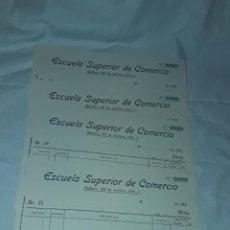 Documentos bancarios: 4 ANTIGUOS PAGARÉS ORIGINAL ESCUELA SUPERIOR DE COMERCIO SIN UTILIZAR BANCO DE ESPAÑA AÑO 1920 A1929. Lote 245745550