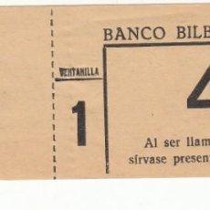 Documentos bancarios: TICKET DE VENTANILLA DEL BANCO DE BILBAO EN REUS. Lote 247728745