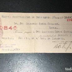 Documentos bancarios: TALON , CHEQUE 1930 BANCO HISPANO AMERICANO MADRID , SUCURSAL ZARAGOZA.. Lote 249344040