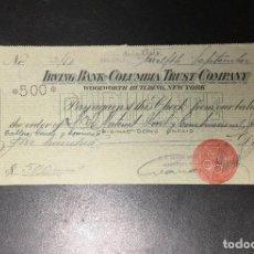 Documentos bancarios: CHEQUE 1923 IRVING BANK - COLUMBIA TRUST COMPANY , BANCO DEL RÍO DE LA PLATA , SUC. SAN SEBASTIÁN .. Lote 249344955