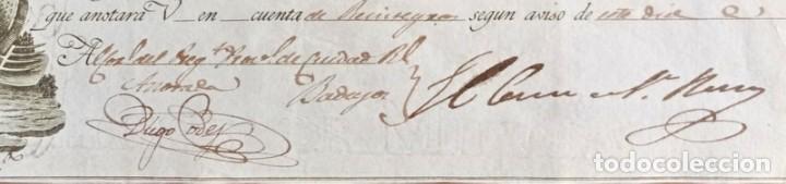 Documentos bancarios: Letra de cambio antigua Badajoz año 1829 con certificado de autenticidad. Documentos antiguos - Foto 3 - 135391490