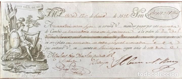 Documentos bancarios: Letra de cambio antigua Badajoz año 1829 con certificado de autenticidad. Documentos antiguos - Foto 2 - 135391490