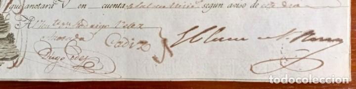 Documentos bancarios: Letra de cambio antigua Cádiz año 1829 con certificado autent. Documentos bancarios antiguos - Foto 3 - 123016671