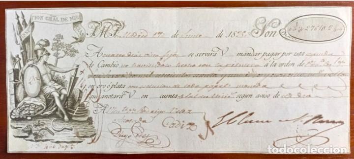 Documentos bancarios: Letra de cambio antigua Cádiz año 1829 con certificado autent. Documentos bancarios antiguos - Foto 2 - 123016671