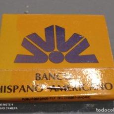 Documentos bancarios: RETRO ANTIGUA CARTERITA CERILLAS BANCO HISPANO AMERICANO.. Lote 252529155