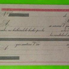 Documentos bancarios: LETRA DE CAMBIO NUEVA CIRCA AÑOS 40 SEXTA CLASE DE 1250 A 2000 PESETAS. Lote 253256405