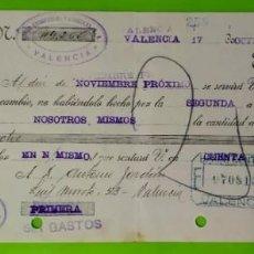 Documentos bancarios: LETRA DE CAMBIO CLASE 12A DE 00 A 100 PESETAS AÑO 1935 UNION CONSERVERA Y ARROCERA VALENCIA. Lote 253261050