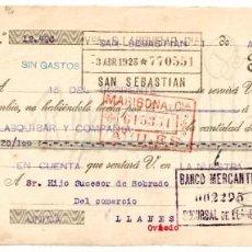 Documentos bancarios: LETRA DE CAMBIO FÁBRICA DE PARAGUAS Y SOMBRILLAS AGUIRRE Y ALMANZOR. SAN SEBASTIÁN AÑO 1923. Lote 256025780