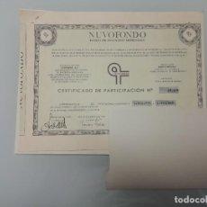 Documentos bancarios: CERTIFICADO PARTICIPACION FONDO BANCO URQUIJO GESFONDO 1969-NUVOFONDO-AGENTE PABLO NEGRE BARCELONA. Lote 256031510