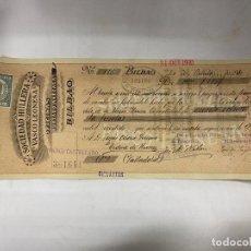 Documentos bancarios: BILBAO, 1910. LETRA DE CAMBIO. SOCIEDAD HULLERA VASCO LEONESA. Lote 256147705