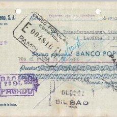 Documentos bancarios: 1952 BILBAO CHEQUE COMPAÑIA NACIONAL DE OXIGENO. Lote 257317605