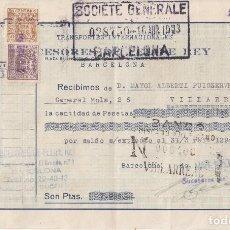 Documentos bancarios: 1953 BARCELONA RECIBO SUCESORES DE FELIPE REY TRANSPORTES INTERNACIONALES. Lote 257318885