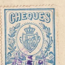 Documentos bancarios: 1928 OVIEDO SELLO FISCAL PARA CHEQUES CLASE 10 30 CTS EN DOCUMENTO. Lote 257323570