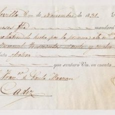 Documentos bancarios: LETRA DE CAMBIO. SEVILLA, 1831, A FAVOR DE FRANCISCO DE PAULA MARZAN. CÁDIZ.. Lote 257337115