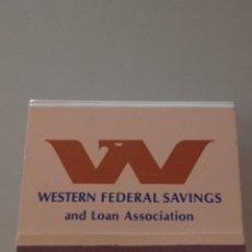 Documentos bancarios: RETRO VINTAGE CARTERITA CERILLAS WESTERN FEDERAL,SAVINGS BEVERLY HILLS(EE.UU). Lote 257580655