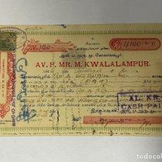Documentos bancarios: CHEQUE. KWALALAMPUR - KUALA LUMPUR. MALASIA. AÑO 1926. VER FOTOS. Lote 257610940