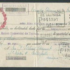 Documentos bancarios: LETRA DE CAMBIO CLASE 11 AÑO 1943 JACINTO SALA SELLO ESPECIAL MOVIL BANCO TERRASA TIMBRE. Lote 27033747