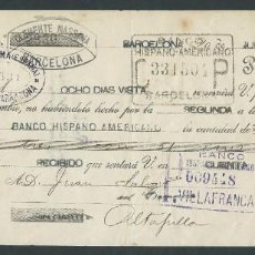 Documentos bancarios: LETRA DE CAMBIO CLASE 12 AÑO 1926 BANCO HISPANO AMERICANO CLEMENTE MASSANA CON SELLO. Lote 27057055