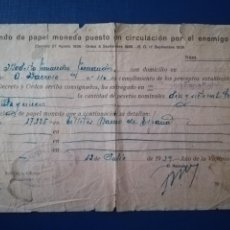 Documentos bancarios: GUERRA CIVIL ESPAÑOLA. FONDO DE PAPEL MONEDA PUESTO EN CIRCULACIÓN POR EL ENEMIGO 1939. POZO BLANCO. Lote 258161195