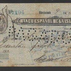 Documentos bancarios: LA HABANA- BANCO ESPAÑOL DE LA ISLA DE CUBA, AÑO 1917, VER FOTOS. Lote 259024020