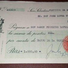 Documenti bancari: CHEQUE BANCO GUIPUZCOANO SAN SEBASTIÁN 1950. Lote 260457450