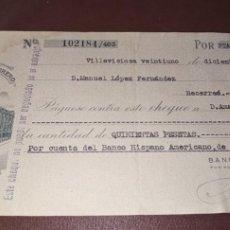 Documenti bancari: CHEQUE BANCO HERRERO OVIEDO 1949. Lote 260474310