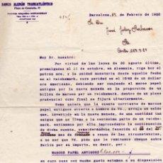 Documentos bancarios: CARTA DEL BANCO ALEMAN TRANSATLANTICO, BARCELONA 1925. CAMBIO UNIDAD MONETARIA.. Lote 261838615