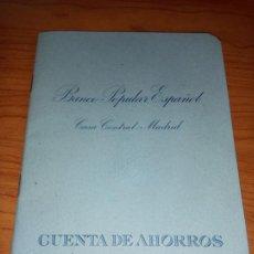 Documentos bancarios: LIBRETA DE CUENTA DE AHORROS DEL BANCO POPULAR ESPAÑOL CASA CENTRAL:MADRID CON SU FUNDA DE 1971. Lote 264831344
