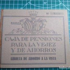 Documentos bancarios: CARTILLA LIBRETA DE AHORRO CAJA DE PENSIONES VEJEZ Y AHORROS CAIXABANK MASNOU AÑO 1966 CON FUNDA. Lote 265981998
