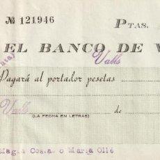 Documentos bancarios: CHEQUE TALON BANCARIO BANCO DE VALLS TARRAGONA ALT CAMP BANC DE VALLS AÑOS 1940. Lote 268278509