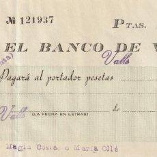 Documentos bancarios: CHEQUE TALON BANCARIO BANCO DE VALLS TARRAGONA ALT CAMP BANC DE VALLS AÑOS 1940. Lote 268279524